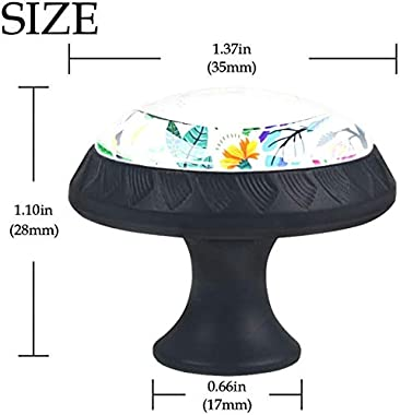 """4 Pack Round Kitchen Cabinet Knobs Pulls (1-37/100"""" Diameter) - Bright Colorful Flowers and Tropic Leaves - Dresser Drawer/Door Hardware - DIY Pattern Customization"""