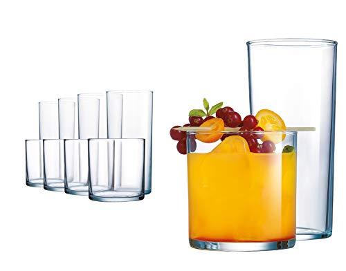 Elegant Drinking Glasses, 8 Highball Glasses (16oz) and 8 Rocks Glass (12oz), Set of 16 Durable...