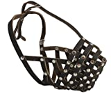 Secure Leather Mesh Basket Dog Muzzle - Rottweiler Male(Circumference 14.5', Snout Length 3.5')