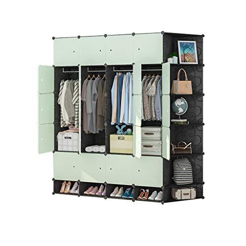 Armario Cubos de plástico de Almacenamiento Organizador Biblioteca Estante Zapatero Estantería Gabinete (Verde) FANJIANI (Size : 183x47x201cm)