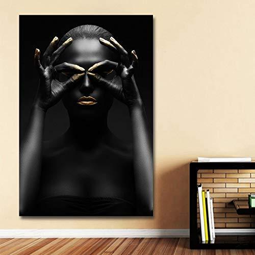 KWzEQ Leinwanddruck modernes schwarzes weibliches Modellwandkunstplakat und Hauptdekorationswohnzimmer,Rahmenlose Malerei,75x112cm