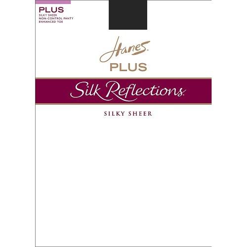 Hanes Silk Reflections Plus Strumpfhose mit verbessertem Zehenbereich, transparent, Jet 1P, 2 Stück