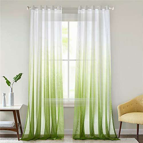 Lindong Farbverlauf Voile Vorhang Transparent Gardinen mit Ösen Dekoschal für Wohnzimmer Schlafzimmer 1er-Pack grün 100x160cm