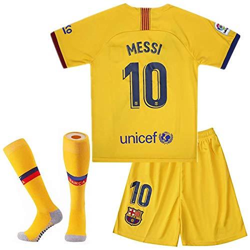 MGGALY Messi #10 Barcelona Away 2019/2020 Season Kids Youth Sport T-Shirts & Shorts & Socks (7-8Year/Size22) Yellow