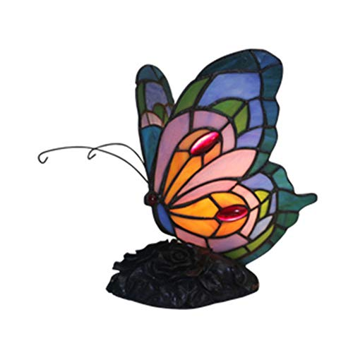 Stijl van Tiffany Yellow Blue Butterfly Accent Lamp Nightbulb, 5