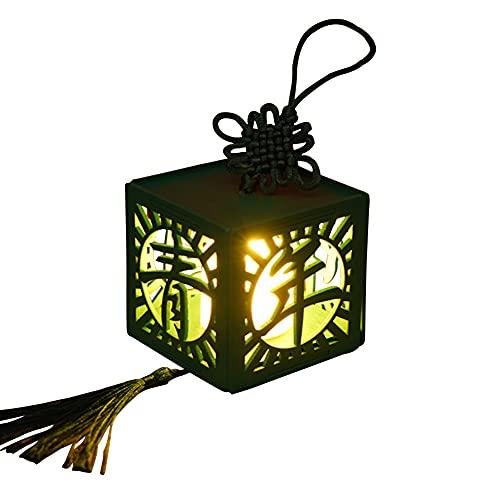 Caja de Luz China de Estilo Antiguo de Deseos Caja de Madera en Miniatura Kit de Casa de Juguete Hueco Ventana Vela Luz LED Con Nudo Chino Borlas Montado Regalo de Juguete