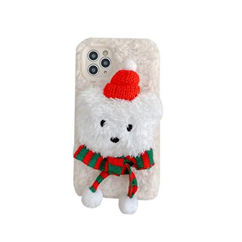 Pumbiiky Plüsch Cartoon Hülle für iPhone 11 Pelzige Pelz Haar 3D Niedlicher Weiß Bär Stil Schöne Hut Schal Puppe Spielzeug Schutzhülle Cool Winter Warme Hülle Design 3