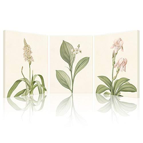 SUMGAR Cuadro de flores rosas y blancas lienzo con impresiones florales obras de arte moderno y verde para pared decoración del hogar dormitorio sala de estar baño 30 x 40 cm 3 piezas de regalo