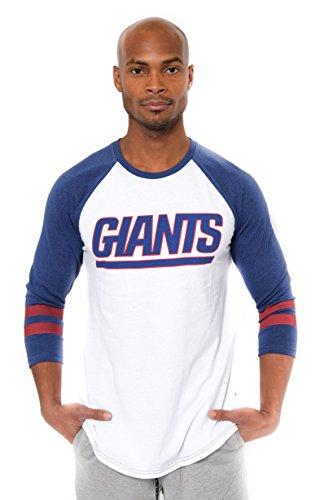 Ultra Game NFL New York Giants Mens Raglan Baseball 3/4 Long Sleeve Tee Shirt, White, Large