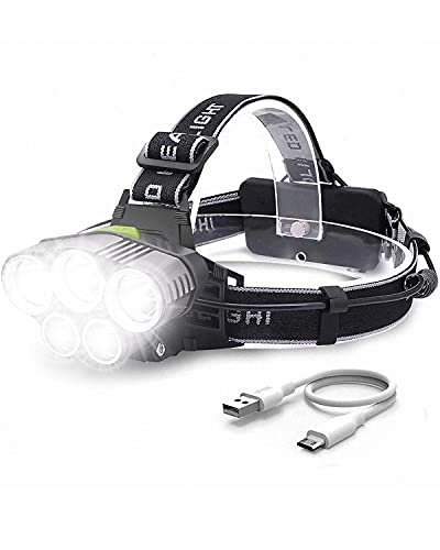 Head Torch, Head Torch Rechargeable with 5 Lights 6 Modes, Rechargeable...
