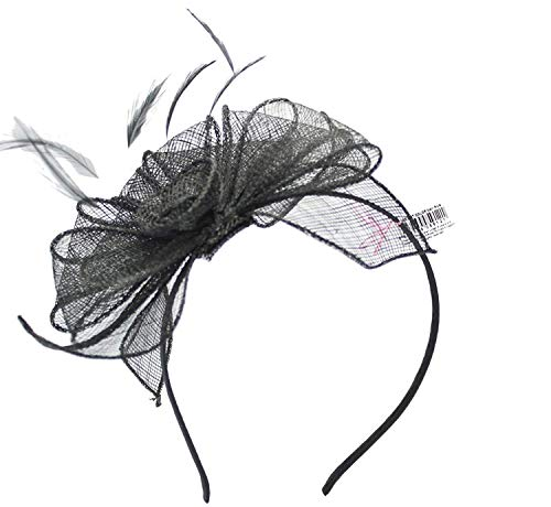Black Fascinator on Headband/ Clip-in for Weddings, Races and Occasions-5912