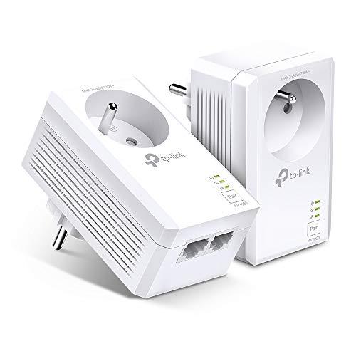 TP-Link CPL 1000 Mbps TL-PA7027P KIT(FR), Prise CPL avec 2 Ports Ethernet Gigabit et Prise Intégrée, Boitier CPL Kit de 2 - Solution idéale pour Profiter du Service Multi-TV à la Maison