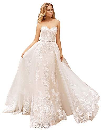 Snow Lotus Damen Sexy Spitze Meerjungfrau Hochzeitskleid Sweetheart mit abnehmbarem Zug Brautkleider Gr. 34, elfenbeinfarben