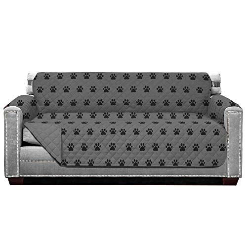 Sofa Shield Patent Pending Sofa Slipcover, Reversible, Easy Fit, 70 Inch Seat Width, Furniture Protector with Straps, Thick and Durable Couch Slip Cover Throw for Pet Dogs, Kids, Paw Gray Black