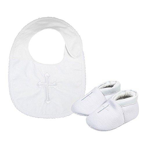 Lacofia Zapatos Blancos del Bautizo de la Suela Blanda Antideslizante del bebé niños con los Baberos Cruzados Bordados bebé Blanco 6-12 Meses