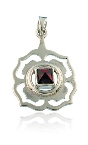 Schmuck Anhänger Chakra Wurzelchakra Muladhara 20 mm, 925 Sterling Silber Granat Edelstein Chakrastein Rot Chakrasymbol