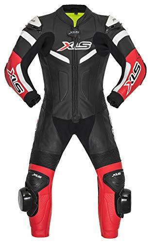 XLS Kinder Lederkombi einteilig Kinderkombi Kids Racing Suit Einteiler Schwarz Rot (128)