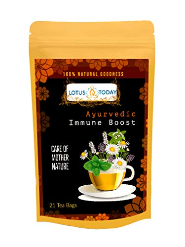 Lotus Today Herbal Tea, Immune Support, 21 Tea Bags, Blend of 18 Ayurvedic Herbs