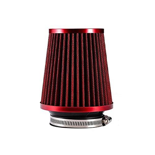 Morning Filtro Aria Auto Universale 3 Pollici Aria Fredda ASSUNZIONE Supercharger Adatto per Kit di Tubo di aspirazione da 76 mm Filtro de AR esporto (Color : Red)