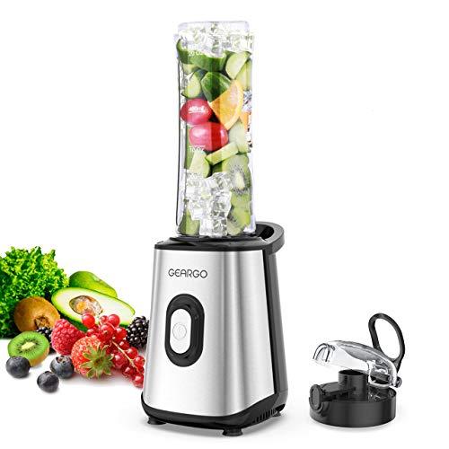 GEARGO mini licuadora batidora,licuadora portátil para batidos, helados, bebidas de frutas y verduras, 300 W, sin BPA, cuchillo de acero inoxidable con botellas de plástico Tritan de 600 ml