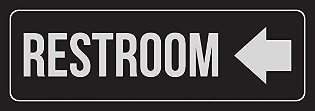New Great Black Background with Silver Font Restroom Left Arrow Business Retail Plastic Wall Sign, 3x9 for Outdoor & Indoor Single Sign