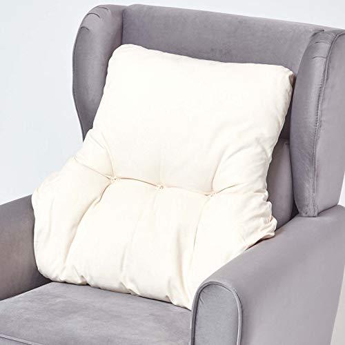 HOMESCAPES Coussin Ergonomique Lombaire, Coussin de positionnement Soutien du Dos en Coton, pour Chaise, Fauteuil et Voiture, Crème, 58 x 68 x 15 cm