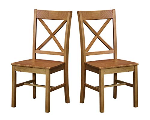 Amazon Brand – Ravenna Home Solid Pine Dining Chair with Cutout Back, 38