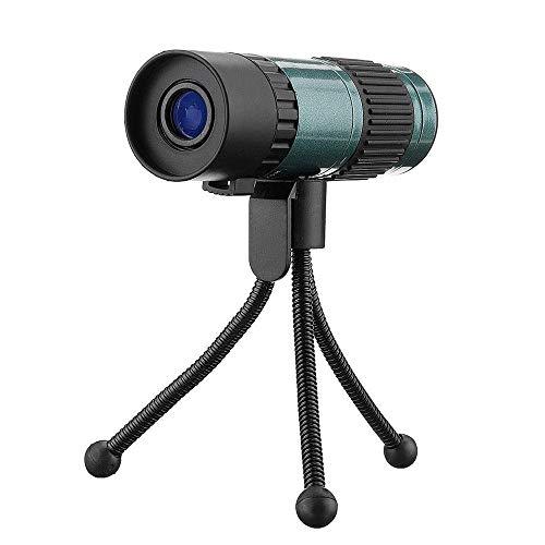 Monoculares 75X25 Mini HD Vison Zoom Monocular Telescopio con trípode Prisma de estabilización de Imagen Monocular (Color: Verde, Tamaño: 106 x 34 x 38 mm)