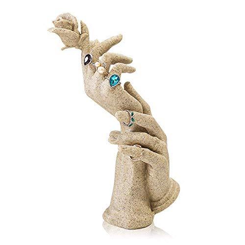 Estante de joyería Polyresin Forma de Mano Exhibición de joyería Pulsera Anillo Collar Soporte Soporte Torres de joyería