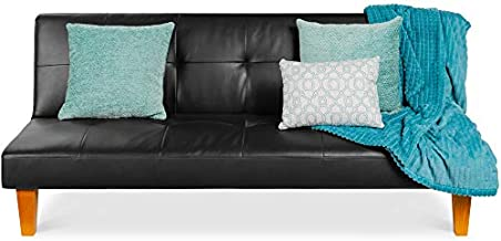 Best Choice Products Convertible Lounge Futon Sofa Bed w/Adjustable Back, Sturdy Wood Frame, Faux Leather, Tufted Design - Black