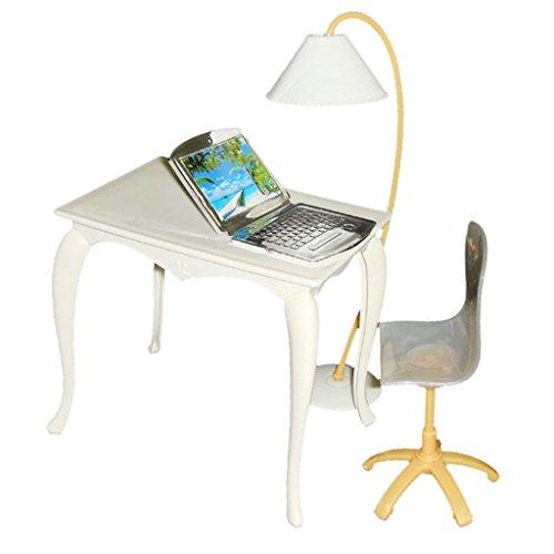 4pcs Set Lámpara Mesa Silla PC Muebles Accesorios de Oficina para Casa de Muñecas 29cm