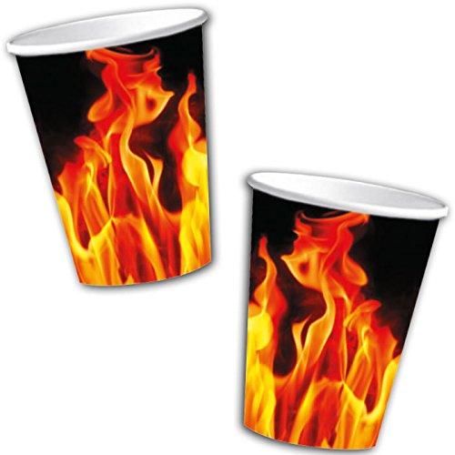 Lot de 10 gobelets en carton - Motif : feu - Idéal comme décoration pour anniversaire, barbecue ou fête