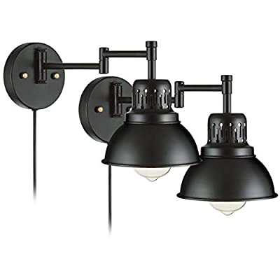 YeLEEiNO Swing Arm Wall Lamp Plug-in Cord Industrial Wall Sconce, Bronze and Black Finish,with On/Off Switch Wall Lights Fixtures (2-Light)