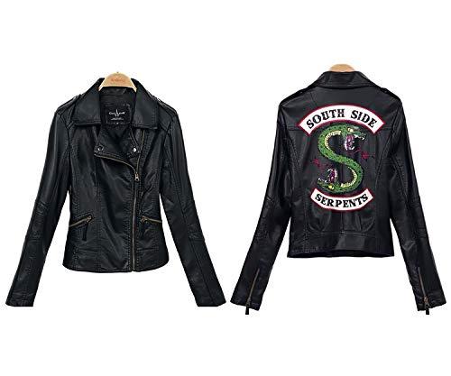 SX Aeardun Girls Riverdale Chaqueta Southside Serpents Chaqueta de cuero negro(Perla Negra, XS)