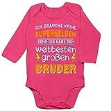 Geschwister Bruder und Schwester - Ich Habe den weltbesten großen Bruder - 3/6 Monate - Fuchsia - Bester Bruder Body - BZ30 - Baby Body Langarm