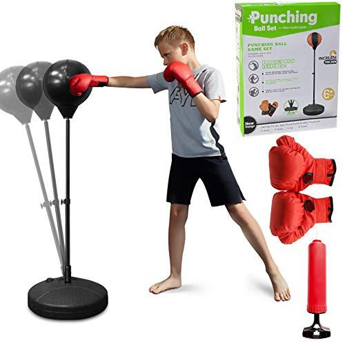 Punchingball 120cm höhenverstellbar, Standboxball freistehend, Boxsack Set, Boxset, Box Set inkl. Boxhandschuhe und Handpumpe, Geeignet für Erwachsene, Jungen und Mädchen ab 8 Jahren