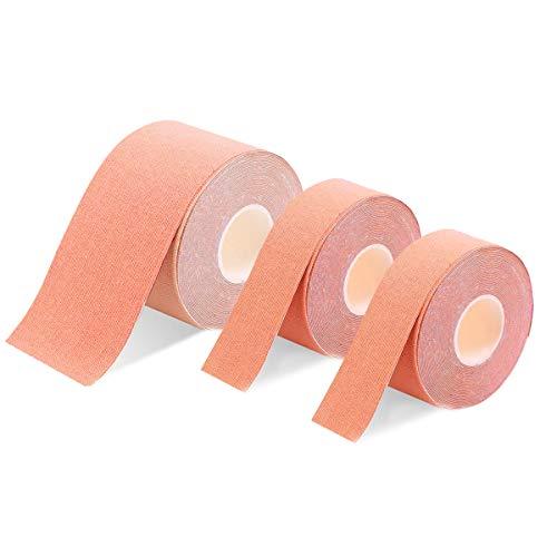 3巻入 キネシオロジーテープ テーピングテープ 筋肉テープ 筋肉・関節をサポート 伸縮性強い 汗に強い 肩・腰・膝・足・ すね用 1卷 5cm x 5m/2卷 2.5cm x 5m