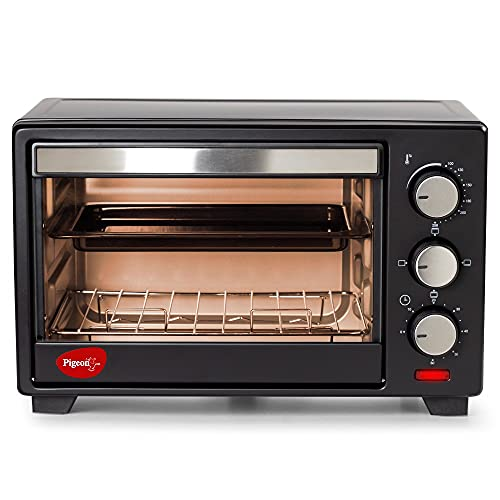 Pigeon Baker's Collection Oven Toaster GrilL (14325) 16 Liters OTG with Rotisserie for Oven Toaster and Grill for grilling and baking Cakes (Grey)