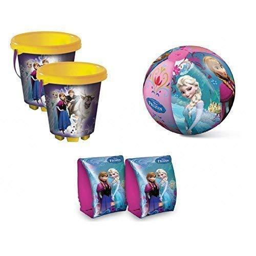 Lively Moments Strandset mit Strandeimer / Sandeimer, Schwimmflügel / Schwimmhilfe und Wasserball Disney Frozen - Die Eiskönigin