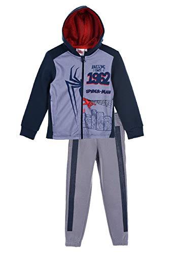 Yuhu Spider-Man Kinder Jungen Sweat-Jacke mit Jogging-Hose Jogging-Anzug Trainings-Anzug, Farbe:Grau, Größe:128