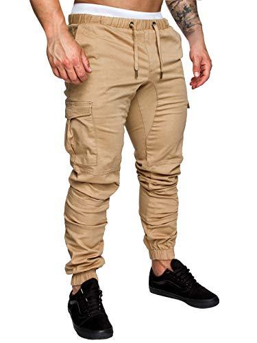 Yidarton Men's Cargo Pants Slim Fit Casual Jogger Pant Chino Trousers Sweatpants(kh,l) Khaki