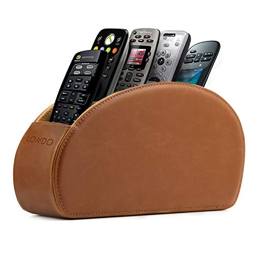 Londo - Leather Remote Control Holder Organizer with Suede Lining for DVD Blu-ray TV Roku or Apple TV Remotes (Leather, Light Brown)