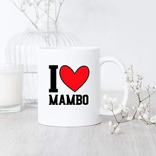 """Taza de café con texto en inglés """"I Love Mambo Dancer"""""""