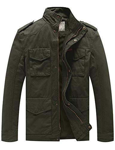 WenVen Men's Cotton Military Stand Collar Field Jacket (Army Green, Medium)