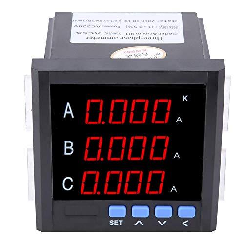 Akozon Inteligente Amperímetro trifásico, Multifunción Medidor de energía, programable Voltímetro(Negro)