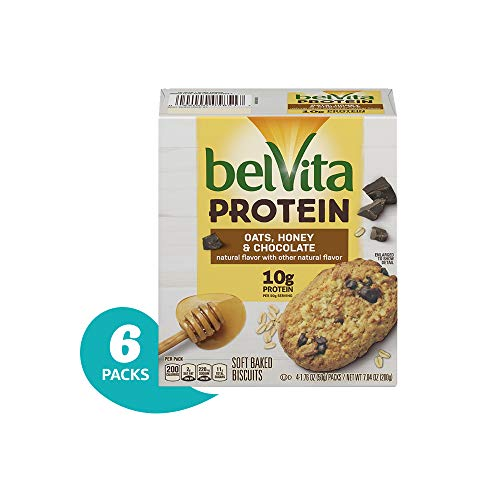 belVita Protein Oats, Honey & Chocolate Soft Baked Biscuits, 7.04 Ounce, Pack of 6