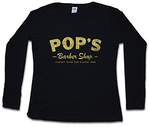 Urban Backwoods Pop'S Barber Shop Women T-Shirt Mujer Camiseta de Manga Larga Negro Talla XS