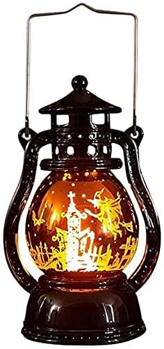 ZRBD-xh Brandvlam open haard Lamp Halloween Retro Olie Lamp, Halloween Hand-Held Sfeer Lamp Simulatie Retro Vlam Lamp…