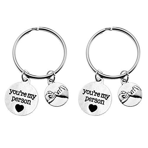 Zysta 2 Stück Partner Schlüsselanhänger Kleiner Finger Versprechen Anhänger mit Gravur You're My Person Silber (# 3)