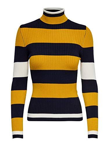 Only Onlkarol L/S Rollneck Pullover Knt Noos Camiseta Cuello Alto, Azul (Night Sky Detail: W. Golden Yellow/Cloud Dancer), L para Mujer